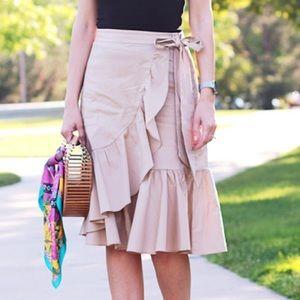 Ann Taylor Loft Tan Ruffle Skirt with Bow